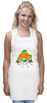 "Фартук ""Витаминидон"" - апельсин, яблоко, витамин, чеснок, мортира"