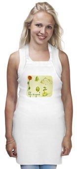 """Фартук """"Горы, сосны и цветы"""" - цветы, горы, сосны, ели"""