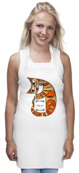 """Фартук """"Мяу-фартук"""" - кот, кошка, молоко, оранжевый, cat, milk"""
