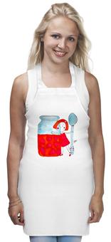 """Фартук """"Клубничное настроение"""" - ложка, посуда, любимой, клубника, девочка, маме, вкусно, кухня, банка, бабушке"""