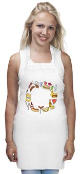 """Фартук """"Закусочный"""" - еда, пиво, бутерброд, чипсы, сэндвич"""
