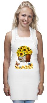 "Фартук ""Подсолнух"" - бабочки, природа, подсолнух, кухня"