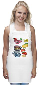 "Фартук ""Чашка чаю"" - клубника, чашки, яблоко, натюрморт"