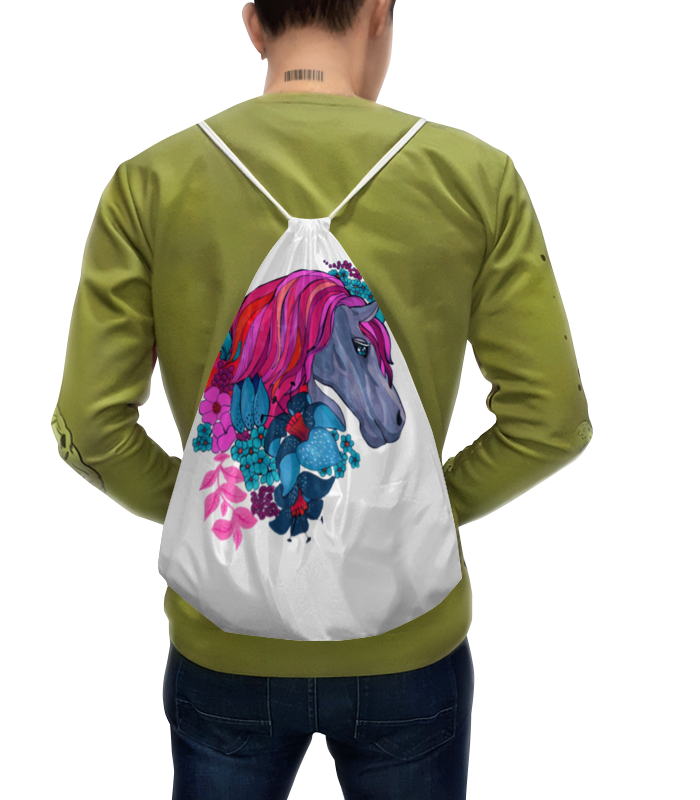 Рюкзак-мешок с полной запечаткой Printio Единорог с розовыми волосами в цветах рюкзак мешок с полной запечаткой printio единорог