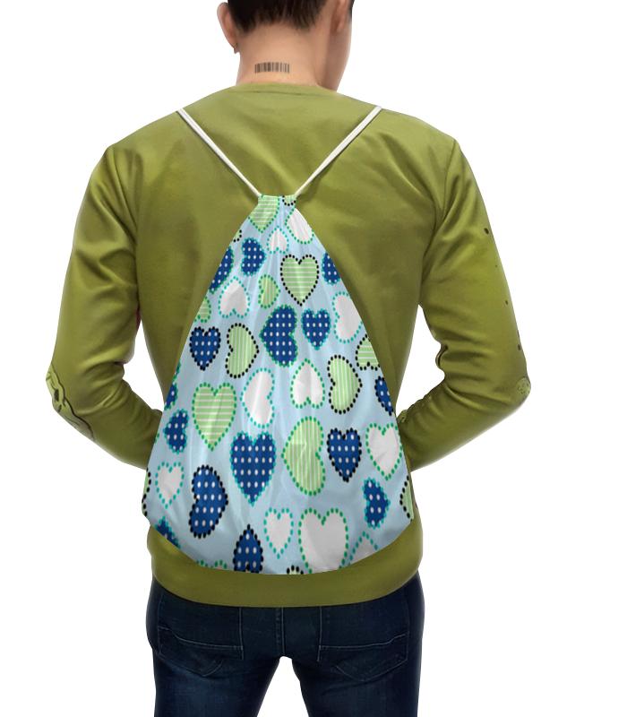 цена Рюкзак-мешок с полной запечаткой Printio Разноцветные сердечки . любовь.