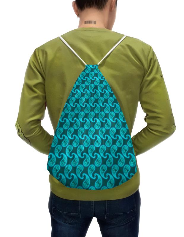 Рюкзак-мешок с полной запечаткой Printio Орнамент пейсли морская вода цена