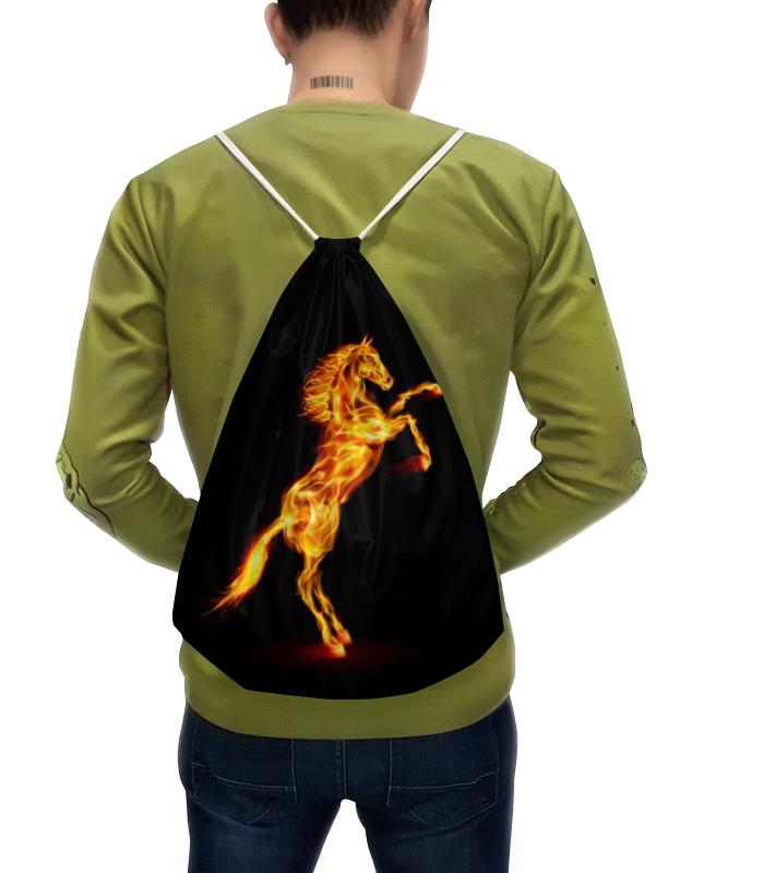 Рюкзак-мешок с полной запечаткой Printio Огненная лошадь рюкзак с полной запечаткой printio девушка и лошадь
