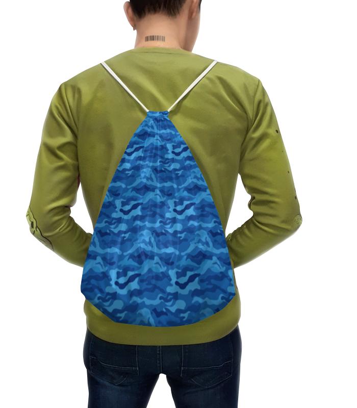 Рюкзак-мешок с полной запечаткой Printio Камуфляж синий камуфляж мужской рюкзак корейской моды рюкзак студентов рюкзак сумка