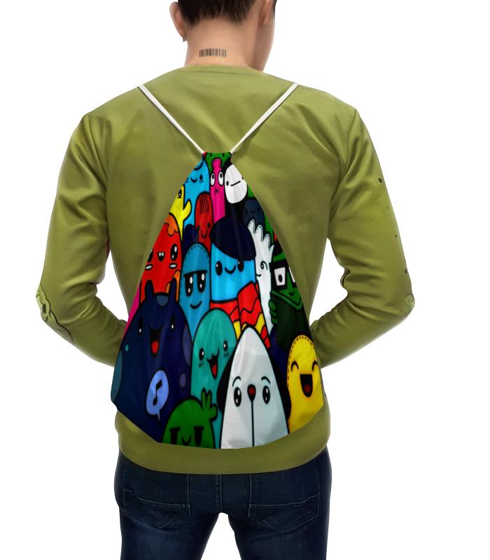 цена Рюкзак-мешок с полной запечаткой Printio Цветные смайлы