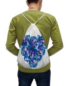 """Рюкзак с полной запечаткой """"Роскошное сердце """" - сердце, розы, букет, синие цветы, яркие цветы"""