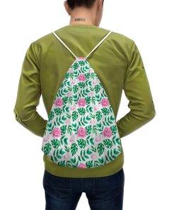 """Рюкзак-мешок с полной запечаткой """"Акварельный цветочный узор"""" - цветы, узор, зелень, акварель, пионы"""