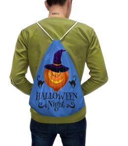 "Рюкзак с полной запечаткой ""Хэллоуин"" - кошка, хэллоуин, тыква"