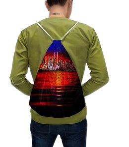 """Рюкзак с полной запечаткой """"Город"""" - город, ночь, краски, вода, мегаполис"""