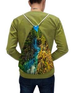 """Рюкзак с полной запечаткой """"Лесной пейзаж"""" - деревья, природа, горы, пейзаж, река"""