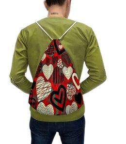 """Рюкзак-мешок с полной запечаткой """"Сердца"""" - сердце, любовь, сердца, день святого валентина, сердечки"""