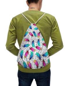 """Рюкзак с полной запечаткой """"Яркие перья"""" - желтый, розовый, синий, цвет, перо"""