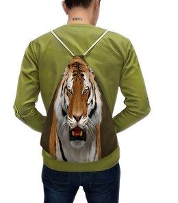 """Рюкзак-мешок с полной запечаткой """"Дикий зверь"""" - хищник, животные, природа, тигр, звери"""