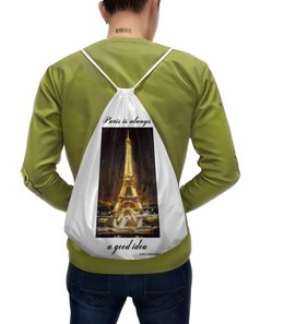 """Рюкзак-мешок с полной запечаткой """"Париж"""" - эйфелева башня"""