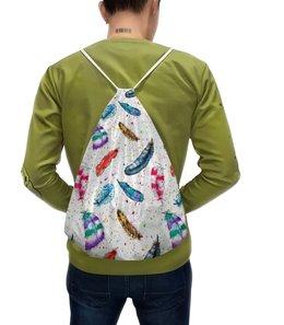 """Рюкзак с полной запечаткой """"Перья"""" - рисунок, пятна, птицы, синий, перья"""
