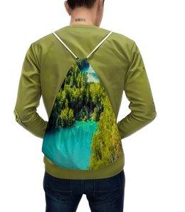 """Рюкзак с полной запечаткой """"Водопад"""" - природа, пейзаж, водопад, лес, деревья"""