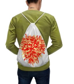 """Рюкзак-мешок с полной запечаткой """"Яркое настроение """" - сердце, цветы, букет, хризантемы, красные цветы"""