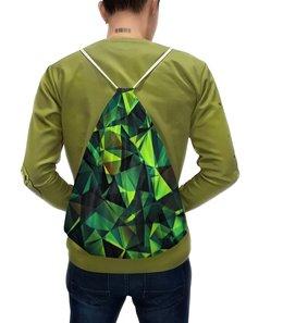 """Рюкзак с полной запечаткой """"Изумрудные стекла"""" - зеленый, абстракция, цветные, изумрудный, стекла"""