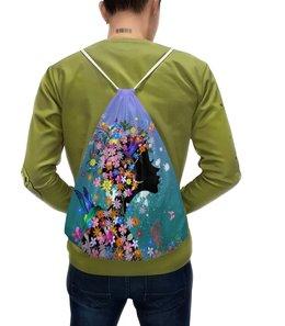 """Рюкзак с полной запечаткой """"Девушка"""" - бабочки, девушка, цветы, птицы"""