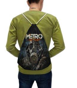 """Рюкзак-мешок с полной запечаткой """"метро 2033"""" - персонаж, маска, видеоигра, стиль надпись логотип яркость"""