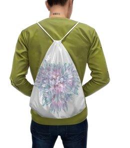 """Рюкзак-мешок с полной запечаткой """"Цветочная пастель """" - сердце, пастель, букет, хризантемы, нежные цветы"""