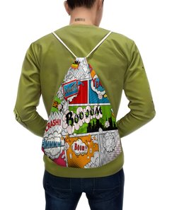 """Рюкзак с полной запечаткой """"Комиксы"""" - рисунок, надписи, цветные, слова, символы"""