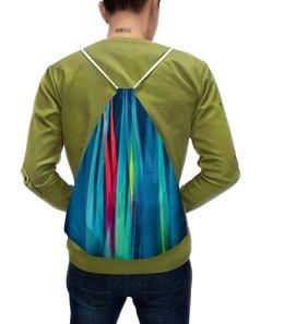 """Рюкзак с полной запечаткой """"Синие линии"""" - узор, полосы, краски, волны, линии"""