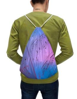 """Рюкзак-мешок с полной запечаткой """"Мелодия"""" - музыка, ноты, мелодия, струны, звуковая волна"""