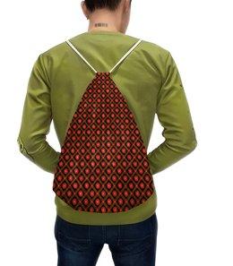 """Рюкзак с полной запечаткой """"Темный геометрический узор"""" - узор, черный, красный, орнамент, зеленый"""