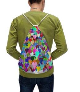 """Рюкзак-мешок с полной запечаткой """"Разноцветные сердца"""" - праздник, любовь, 14 февраля, орнамент, подарок"""