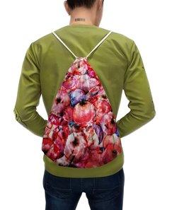 """Рюкзак с полной запечаткой """"Вишня россыпью"""" - красный, ягоды, яркий, акварелью, картина акварелью"""