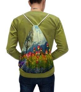 """Рюкзак с полной запечаткой """"Тюльпаны"""" - цветы, весна, природа, тюльпаны, горы"""