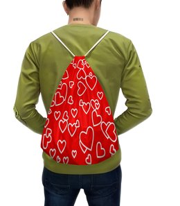 """Рюкзак-мешок с полной запечаткой """"Сердца"""" - любовь, сердца, день святого валентина, сердечки, день валентина"""