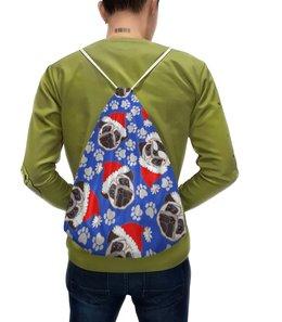 """Рюкзак-мешок с полной запечаткой """"Новогодний"""" - новый год, собака"""