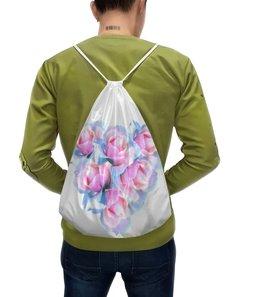 """Рюкзак-мешок с полной запечаткой """"Нежное сердце """" - сердце, цветы, розы, пастель, нежные цветы"""