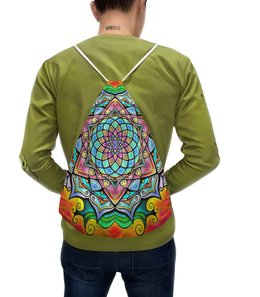 """Рюкзак с полной запечаткой """"Mandala HD2"""" - узор, ретро, классика, этно, симметрия"""