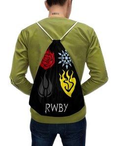 "Рюкзак-мешок с полной запечаткой ""RWBY  "" - аниме, rwby, red white black yellow, красный белый черный желтый, ruby weiss blake yang"