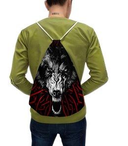 """Рюкзак-мешок с полной запечаткой """"ВОЛK!!!"""" - wild, волк, wolf, решимость, необычный узор"""