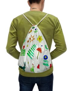 """Рюкзак-мешок с полной запечаткой """"Рюкзак Финская тема"""" - цветы, птички, листочки, ягодки"""