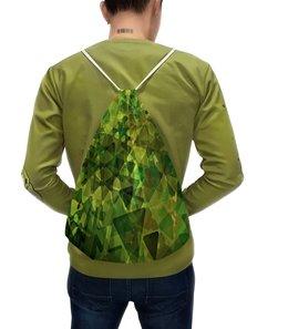 """Рюкзак с полной запечаткой """"Геометрия"""" - узор, зеленый, абстракция, фигуры, треугольники"""