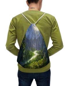 """Рюкзак с полной запечаткой """"Пейзаж красками"""" - лес, природа, горы, пейзаж, река"""