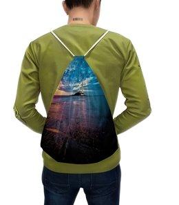 """Рюкзак с полной запечаткой """"Маяк в море"""" - природа, пейзаж, море, маяк, вода"""