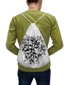"""Рюкзак-мешок с полной запечаткой """"Черно-белая классика """" - сердце, цветы, букет, хризантемы, черно-белая графика"""