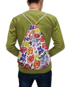 """Рюкзак-мешок с полной запечаткой """"цветочки"""" - лето, цветы, узор, природа, цветочки"""