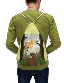 """Рюкзак-мешок с полной запечаткой """"Лечение медом"""" - животные, медведь, природа, иллюстрация, мед"""