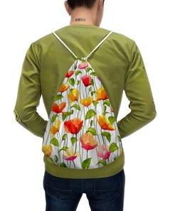 """Рюкзак с полной запечаткой """"Маки """" - цветы, листья, акварель, маки, стебель"""